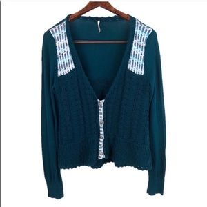 Free People Button Down Knit Crochet Cardigan